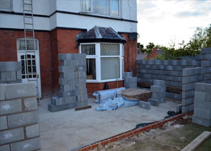 Rear house extension being built